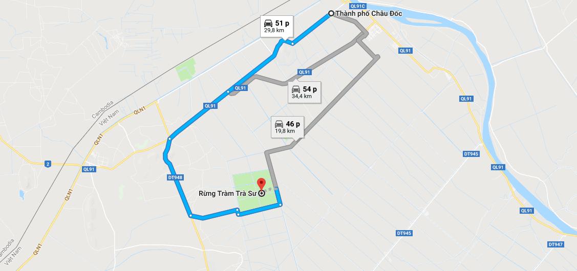 Bản đồ đường đi tới rừng tràm Trà Sư