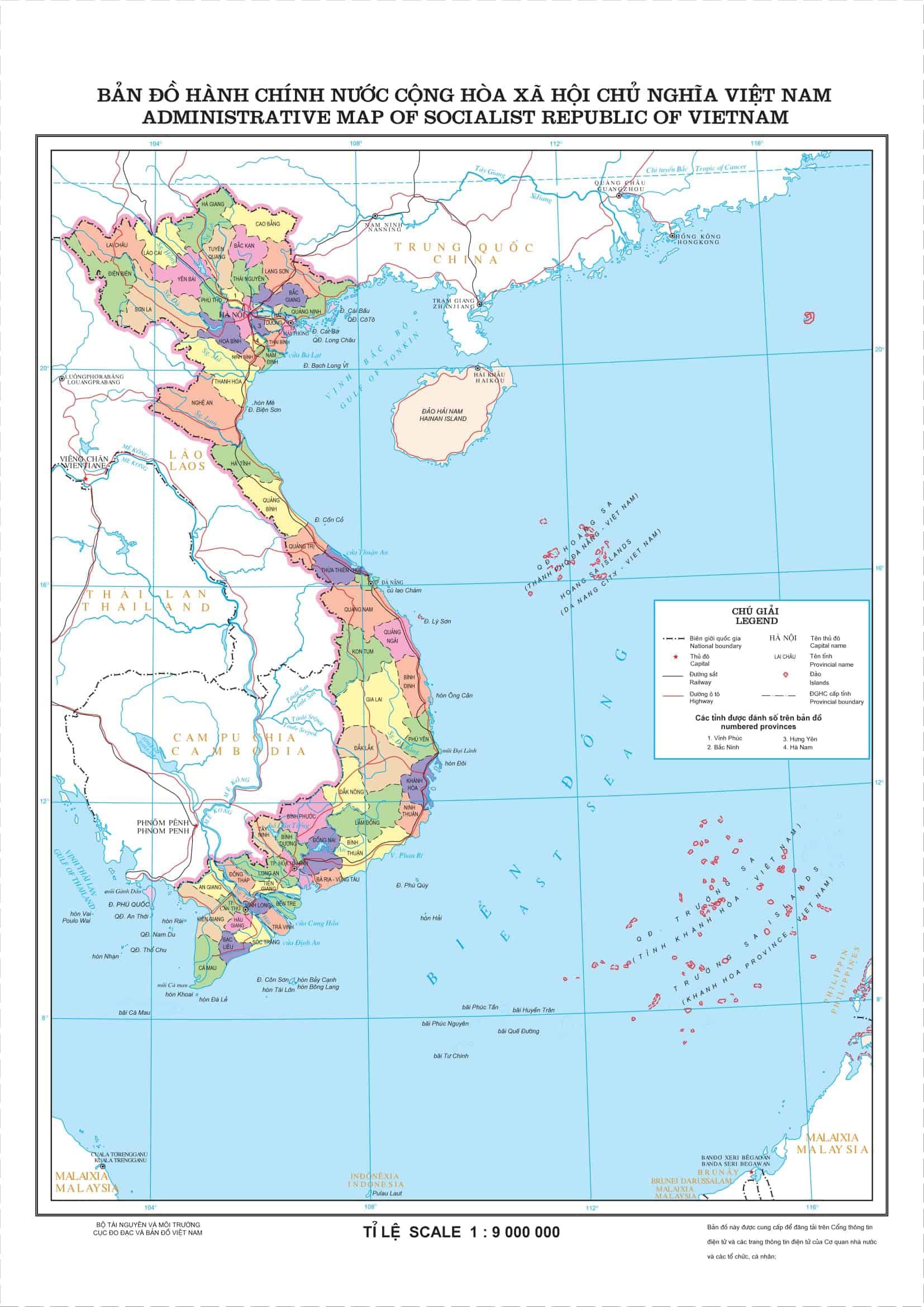 Bản đồ Việt Nam (Nguồn: Trung tâm Thông tin dữ liệu đo đạc và bản đồ)