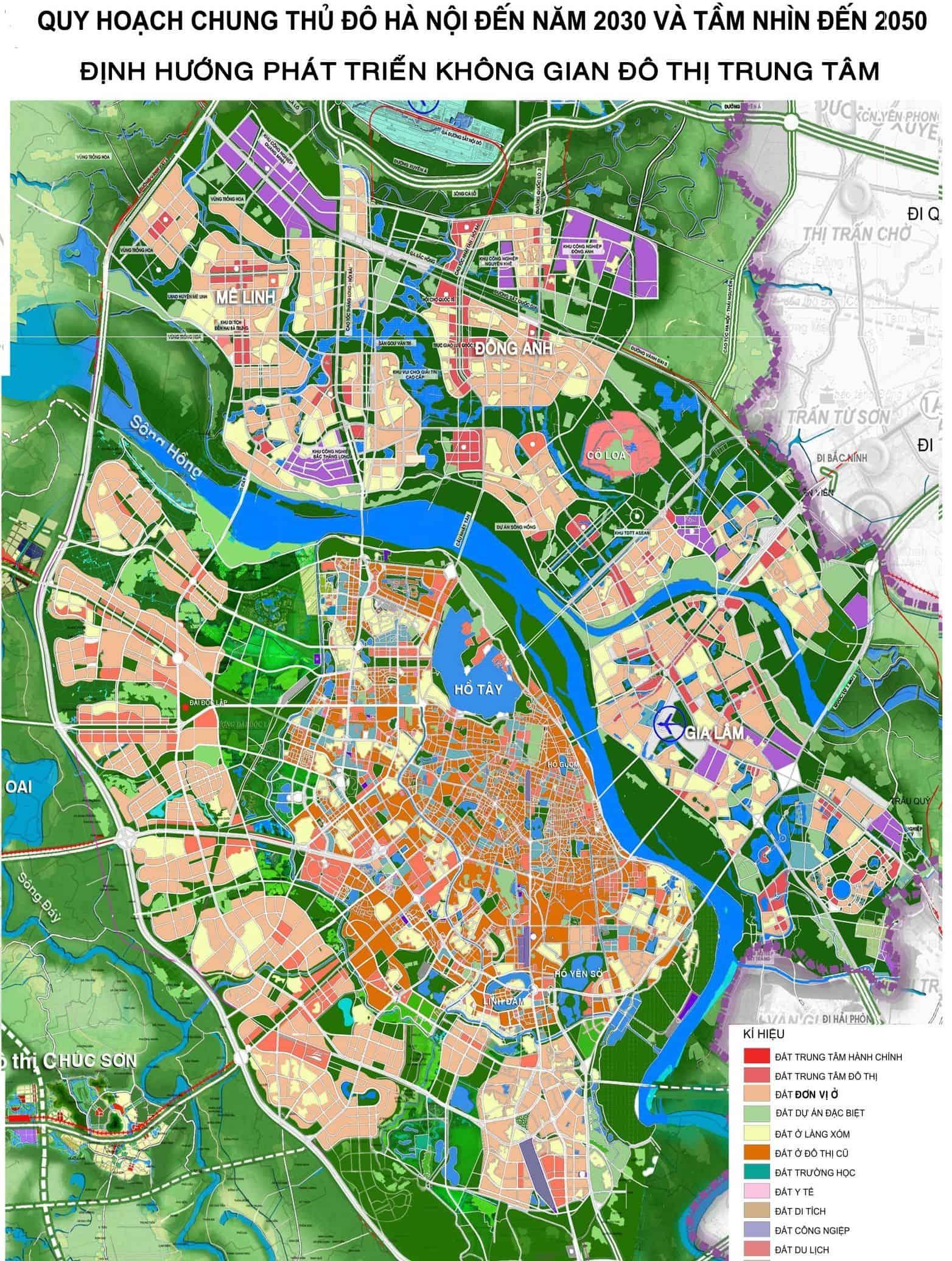 Bản đồ định hướng quy hoạch Hà Nội tính đến 2050