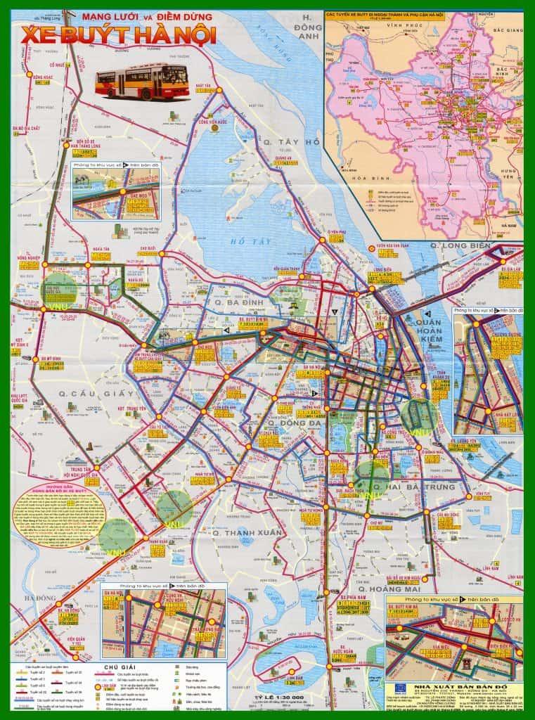 Bản đồ lộ trình và các tuyến xe bus Hà Nội