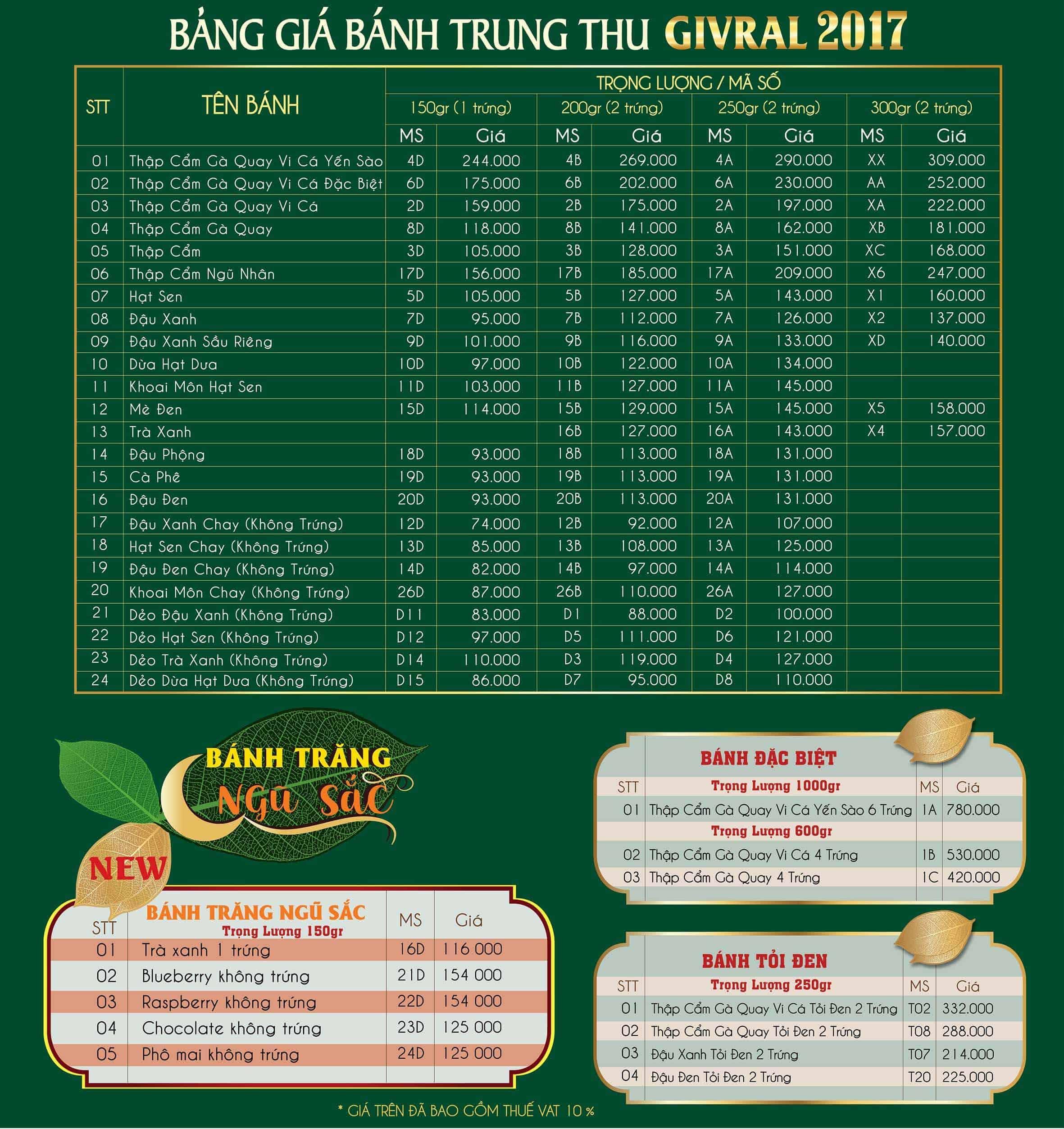 Bảng giá bánh trung thu Givral