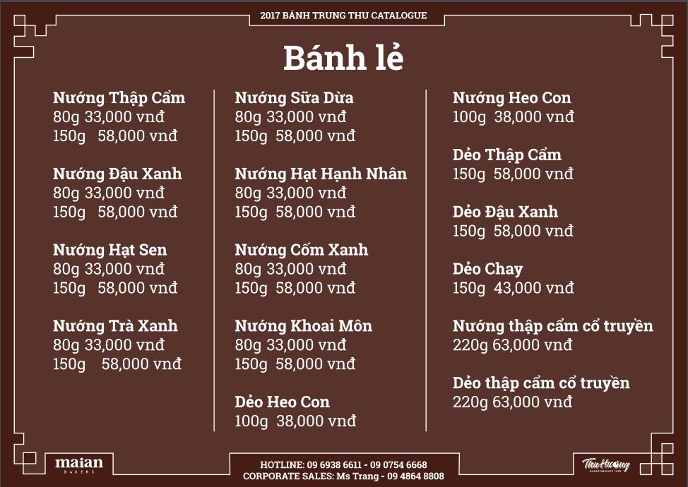 Bảng giá bánh trung thu Thu Hương