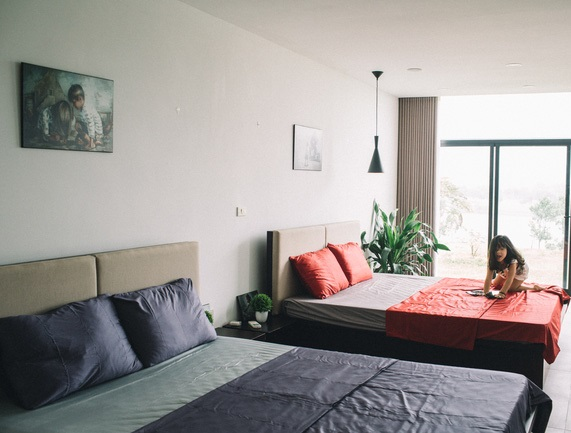 phòng ngủ ở biệt thự Tam Đảo