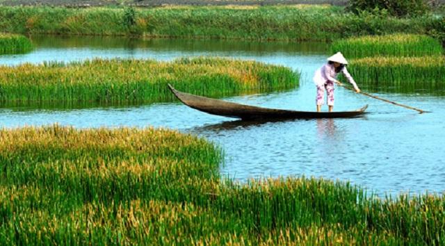 Thuyền là phương tiện di chuyển chủ yếu vùng sông nước