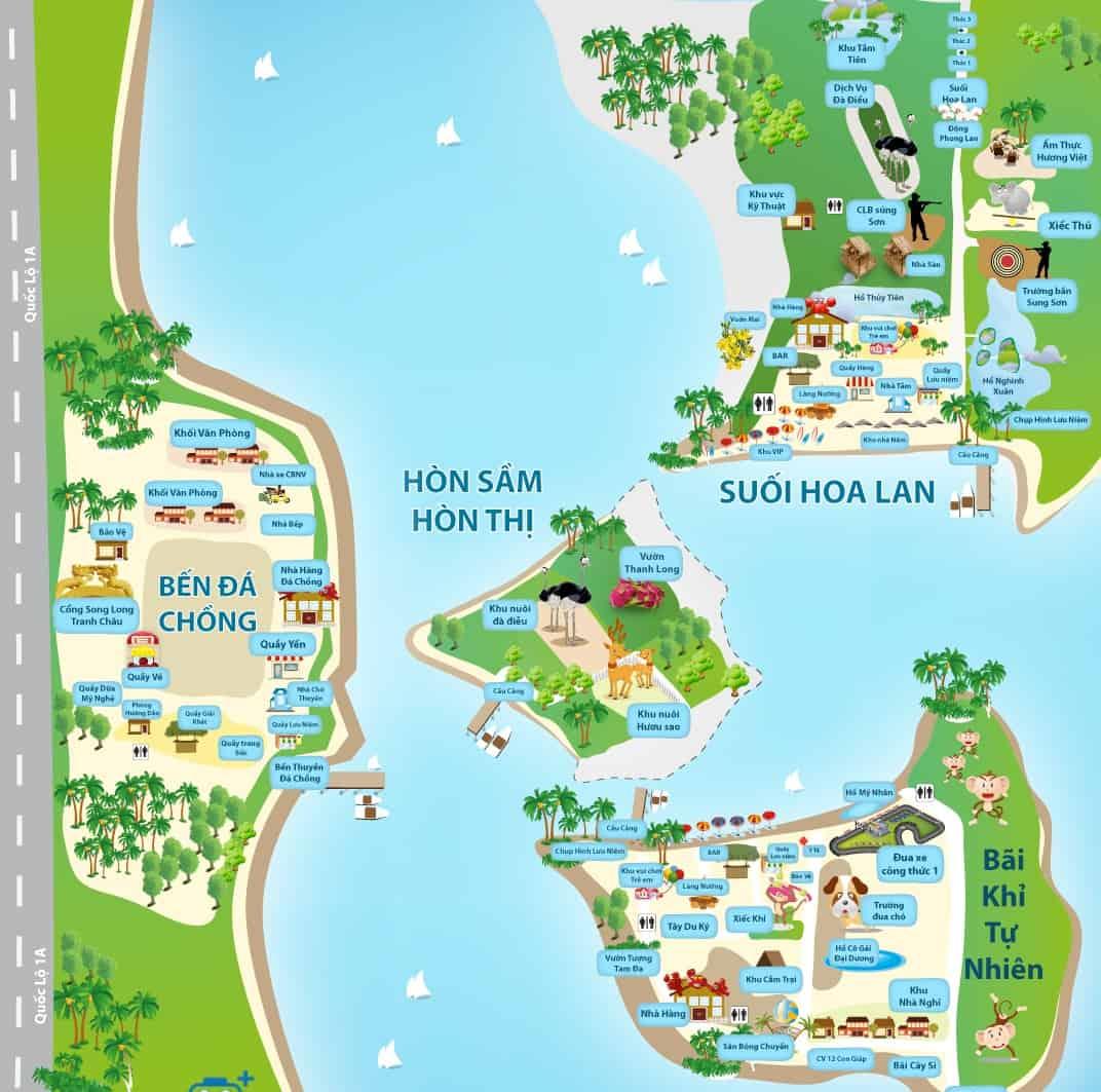 Bản đồ đầm Nha Phu Nha Trang nổi tiếng (Ảnh ST)