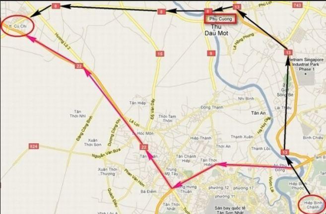 Bản đồ chỉ đường từ trung tâm Sài Gòn đi đến địa đạo Củ Chi