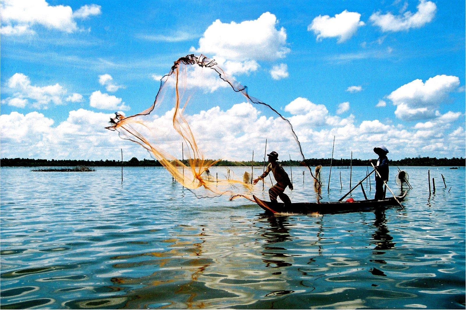 Hình ảnh giăng lưới bắt cá trên búng Bình Thiên (Ảnh: ST)