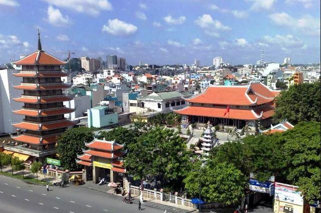 Toàn cảnh Khuôn viên của chùa từ trên cao
