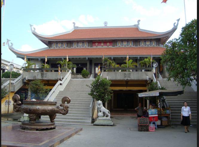 Hình ảnh tòa nhà trung tâm của chùa Vĩnh Nghiêm thành phố Hồ Chí Minh