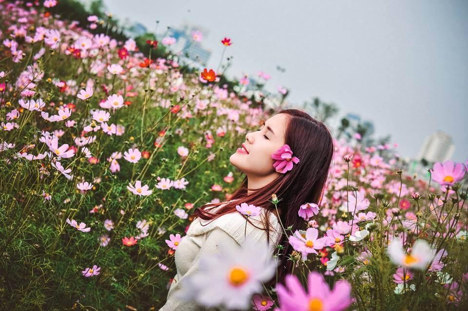 chụp ảnh ở vườn hoa Nhật Tân