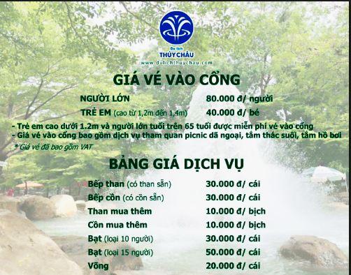 Giá vé vào của khu du lịch sinh thái Thủy Châu