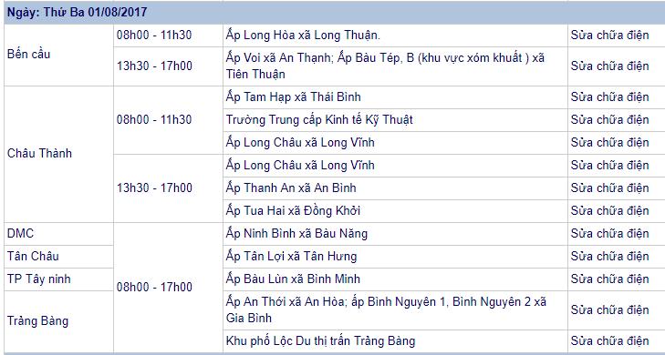 Lịch cúp điện thứ ba 01/08/2017 - tỉnh Tây Ninh (Ảnh: Sưu tầm)