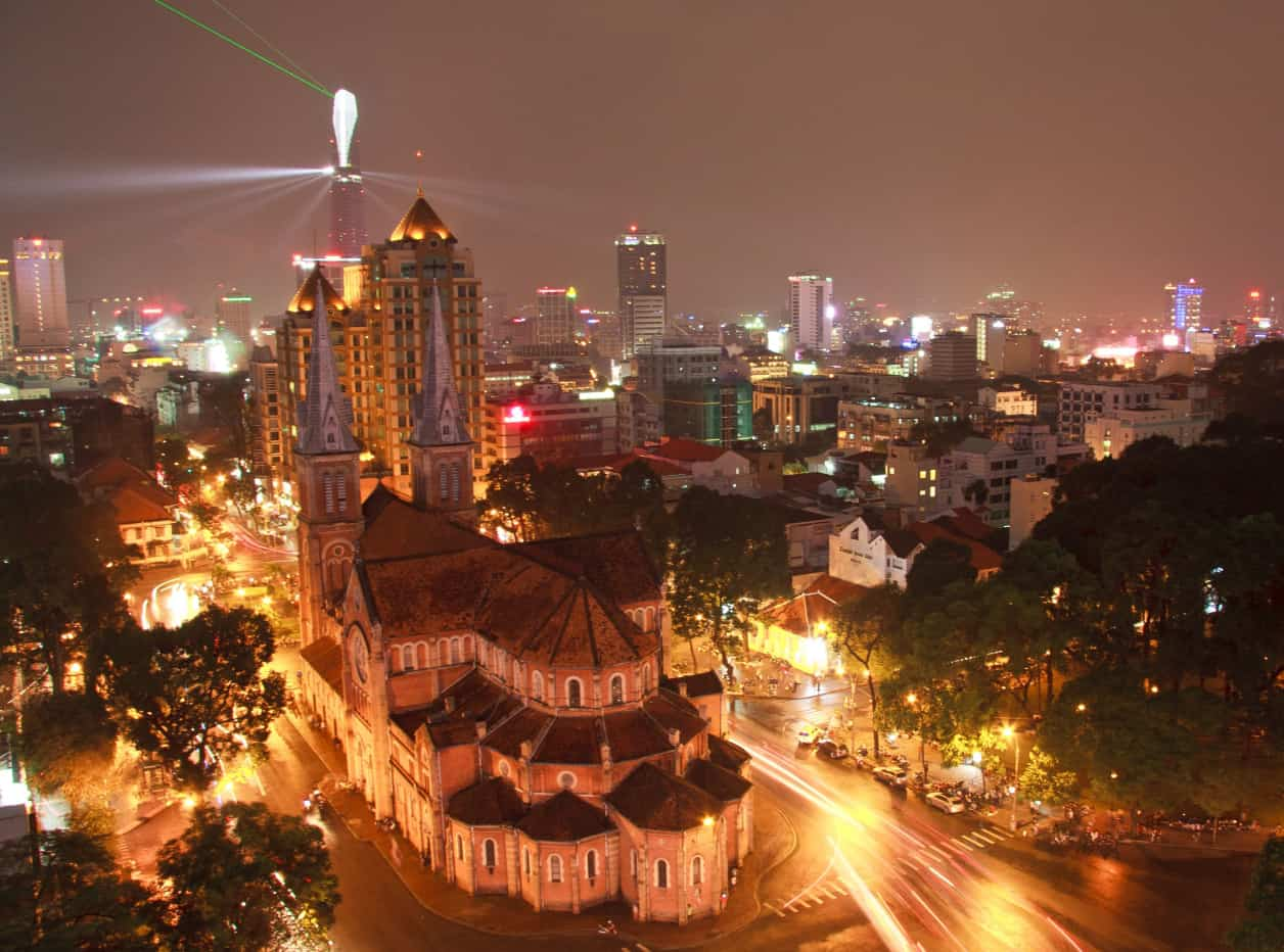 Notre Dame Cathedral is one of the fun places in Saigon at night