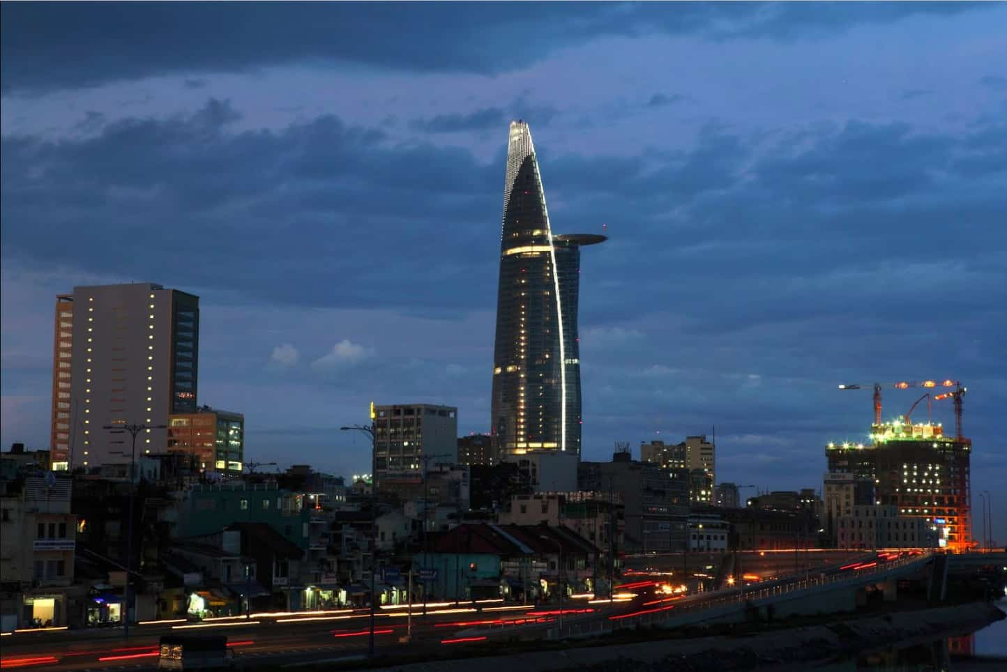 Bitexco Tower building in Saigon at night