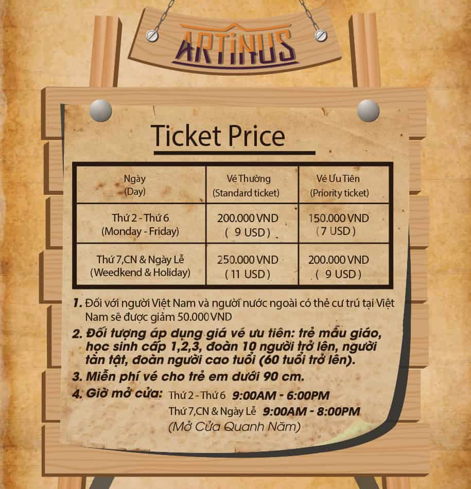 Tham quan bảo tàng tranh 3d Artinus giá vé