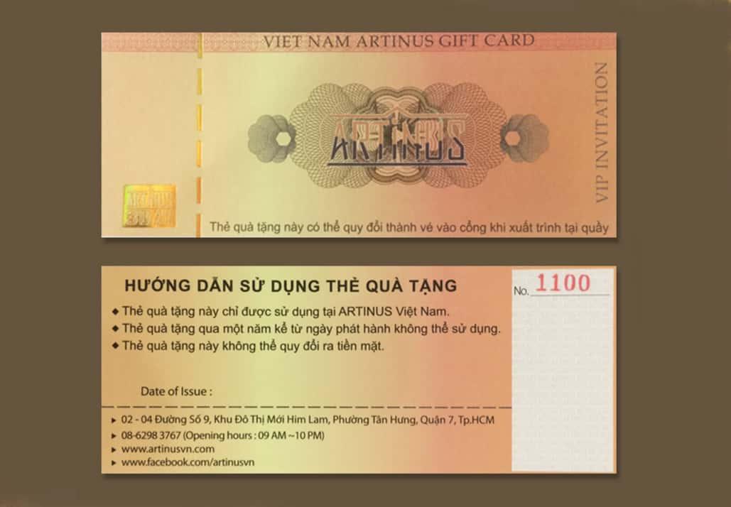 Giá vé Artinus và thẻ quà tặng