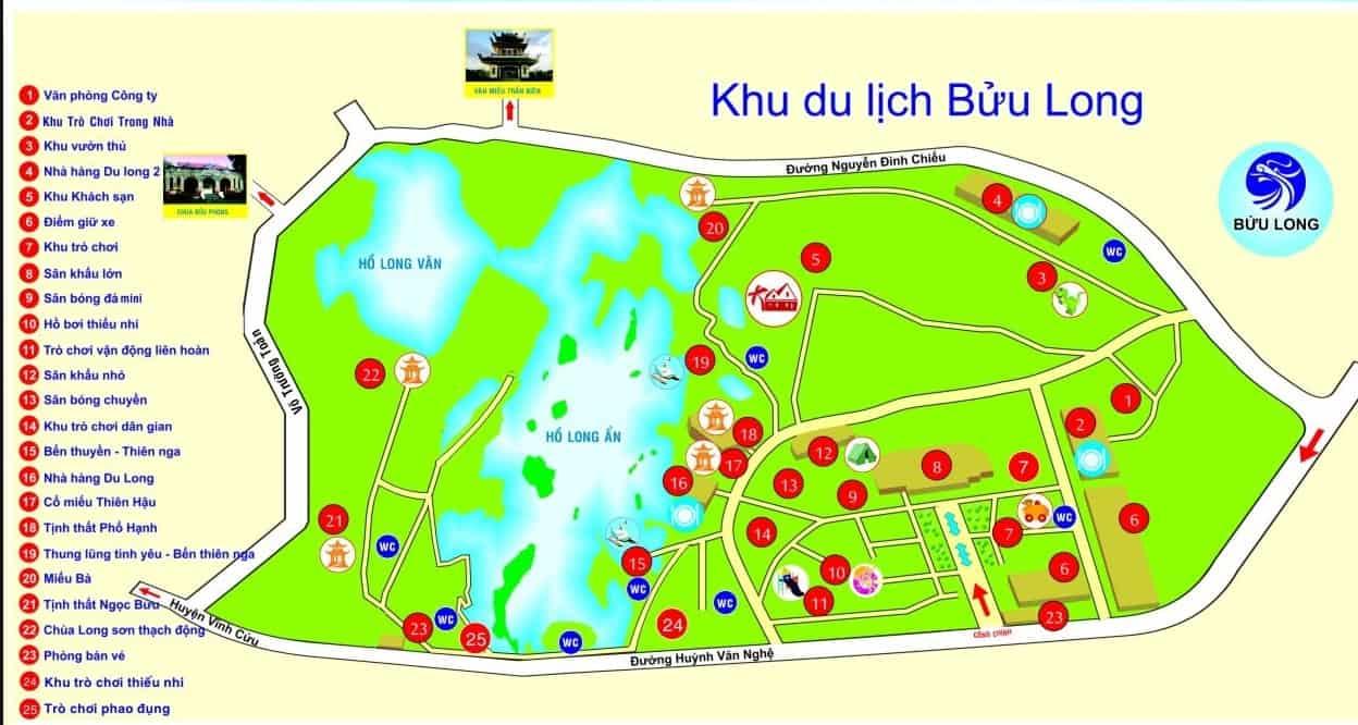 Sơ đồ 1 ngày tham quan khu du lịch Bửu Long