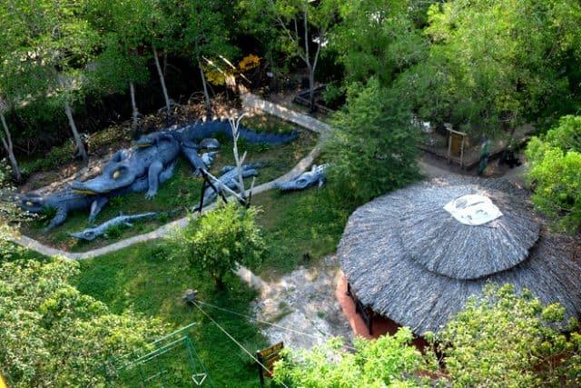 """""""..Du khách có thể đi thuyền hoặc đi bộ xuyên rừng tham quan, câu cua giải trí, tham quan nai hoang dã, tham quan trại cá sấu hay thú vị hơn thế là chinh phục tháp Tang Bồng, thử thách với Cầu Treo"""" (Ảnh sưu tầm)"""