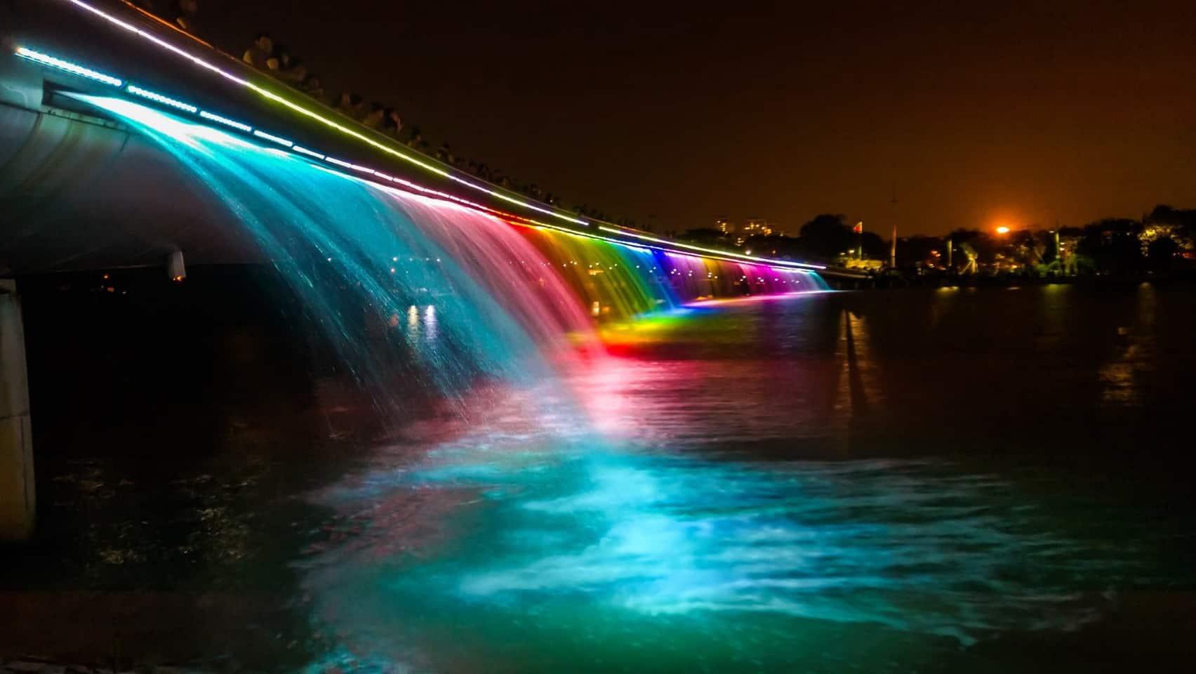 Admire the Saigon Starlight Bridge at night