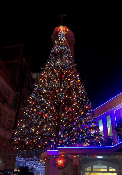 A giant Christmas tree is placed on top of An Nhon church