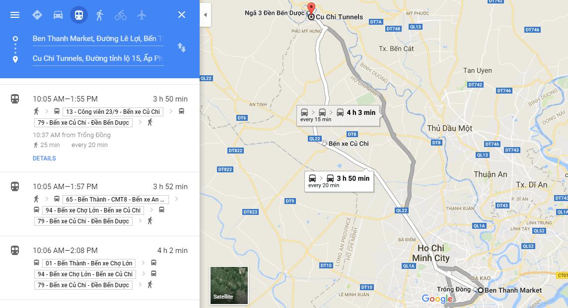 Các tuyến xe buýt từ trung tâm thành phố Hồ Chí Minh đến địa đạo Củ Chi