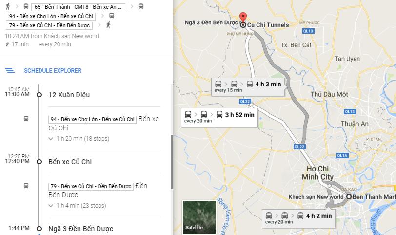 Hành trình: tuyến xe 94 - bến xe Củ Chi - 79 - địa đạo Bến Dược