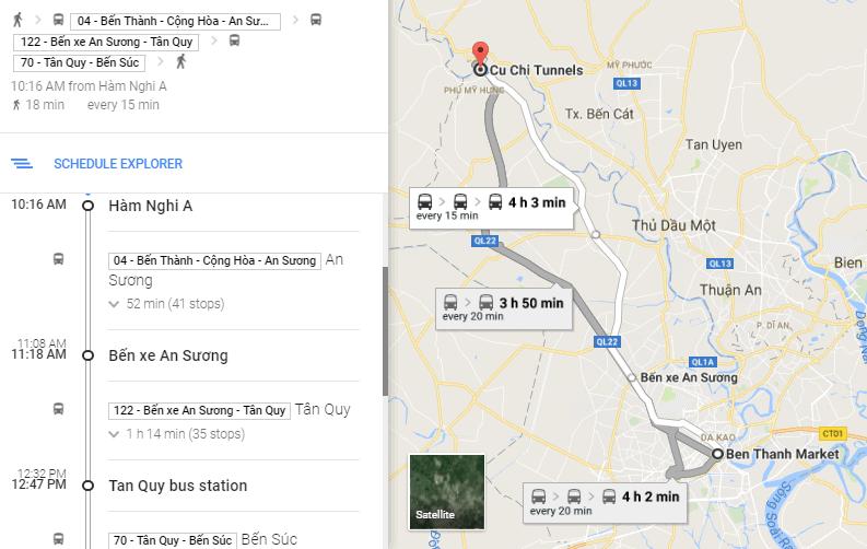 Cách đi: tuyến buýt 04 - bến xe An Sương - 122 - bến Tân Quy - 70 - địa đạo Bến Đình