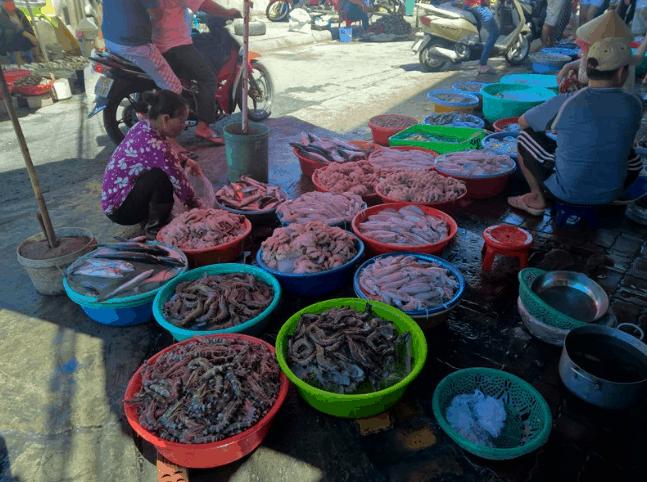 Đủ các loại tôm. mực cá tại một sạp hải sản