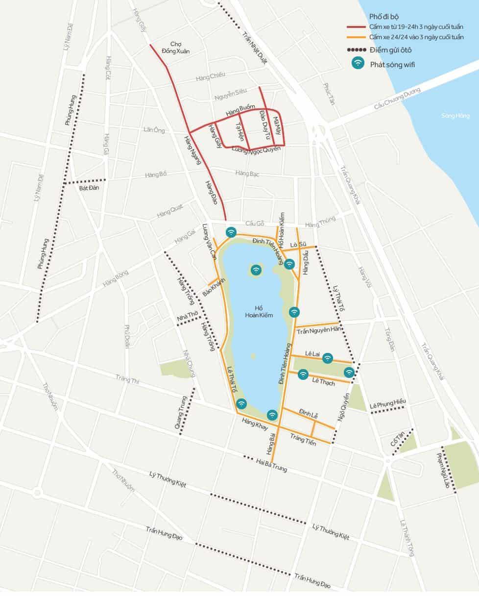 Bản đồ phố đi bộ quanh Hồ Gươm (Hoàn Kiếm - Hà Nội)