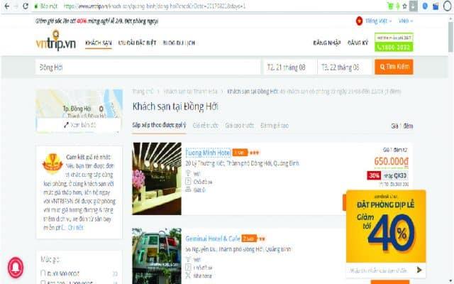 Website Vntrip.vn để đặt phòng khi du lịch Đồng Hới