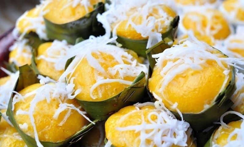Màu vàng óng rất đặc trưng của bánh bò thốt nốt, đặc sảndu lịch Châu Đốc (ảnh sưu tầm)