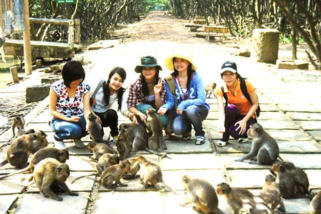 Khách du lịch đảo khỉ chụp ảnh cùng bầy Khỉ (Ảnh: ST)