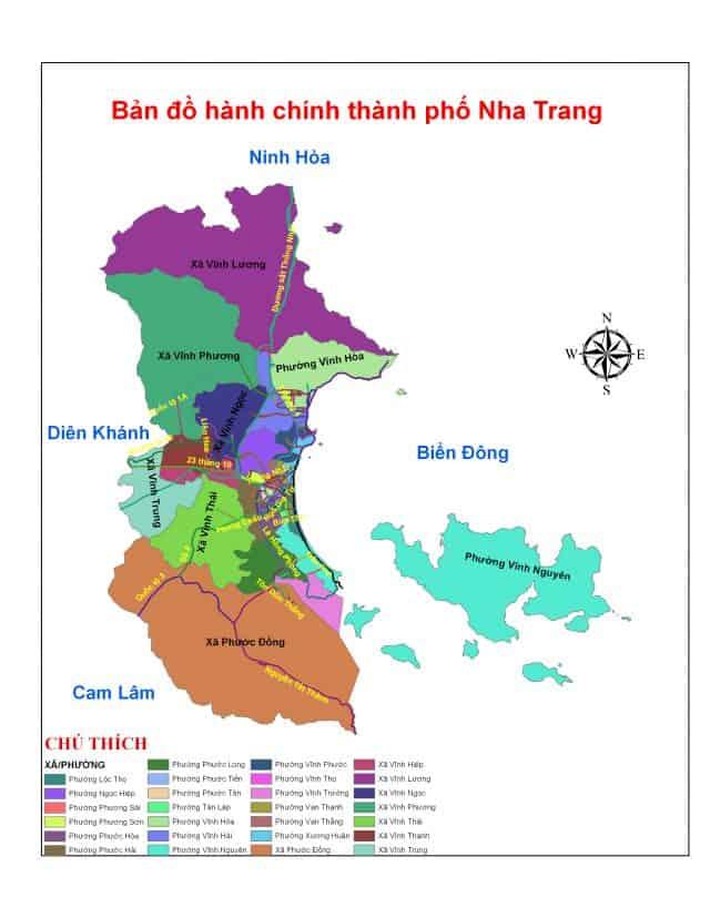 hành chính vị trí địa lý của bản đồ thành phố Nha Trang