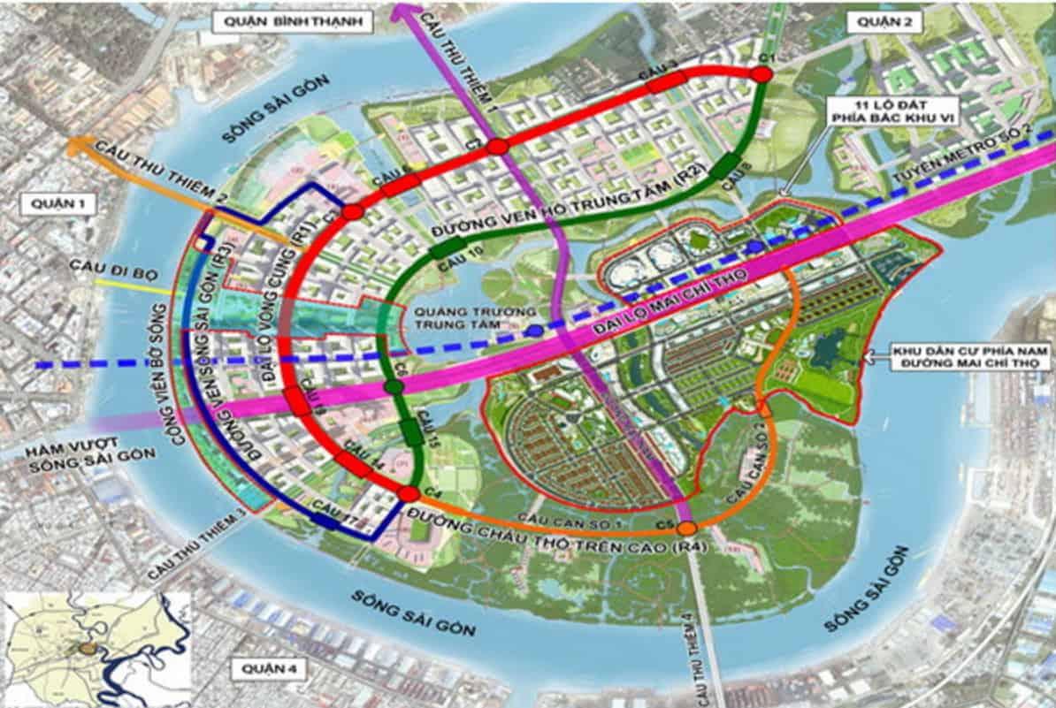 Bản đồ quy hoạch khu đô thị mới Thủ Thiêm