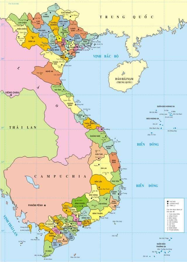 Bản đồ các tỉnh thành việt nam