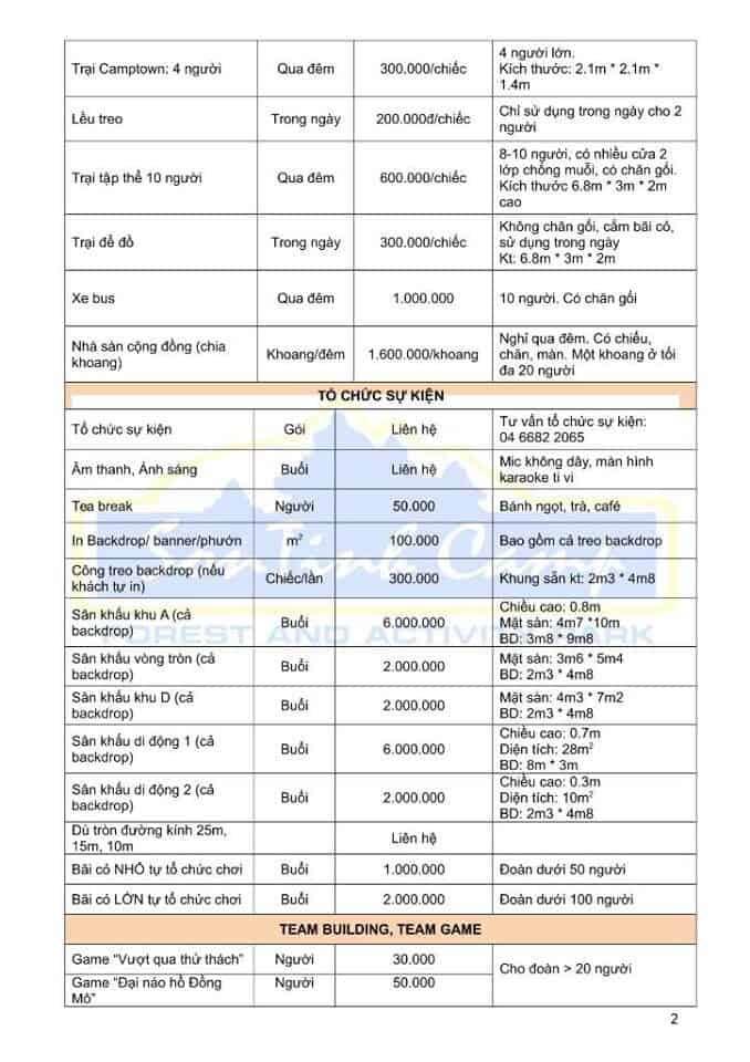 Bảng giá dịch vụ ở Sơn Tinh Camp - ảnh 2