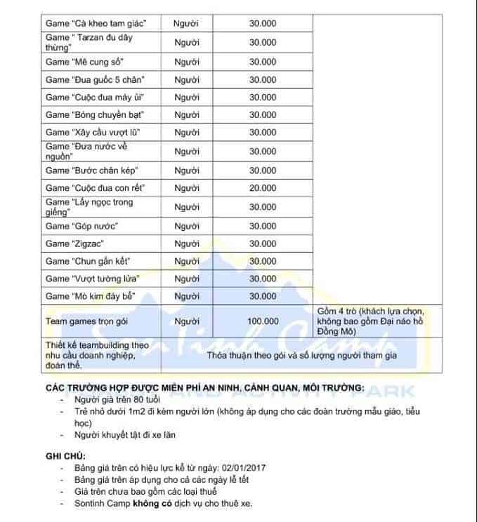 Bảng giá dịch vụ ở Sơn Tinh Camp