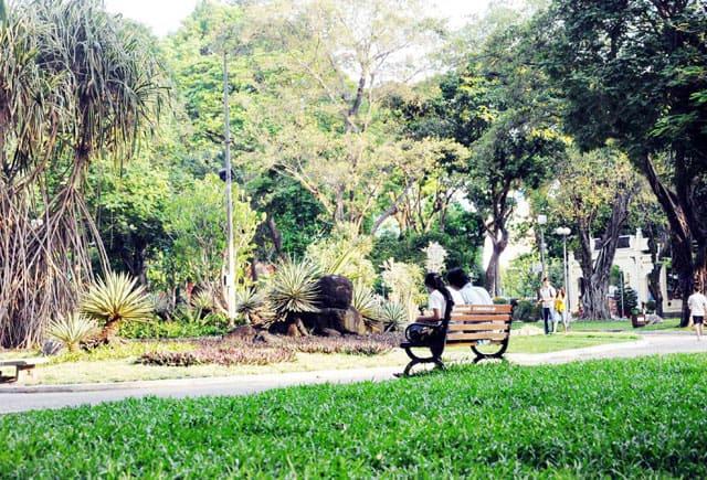 Tận hưởng không gian xanh mát của công viên (