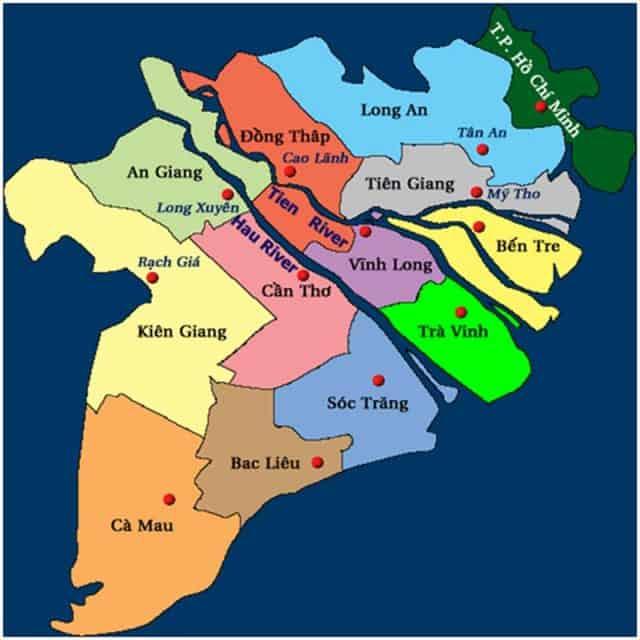 bản đồ các tỉnh nam bộ việt nam
