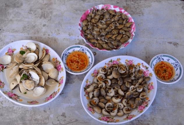 Các món ốc trên xã đảo Thạnh An (Ảnh ST)