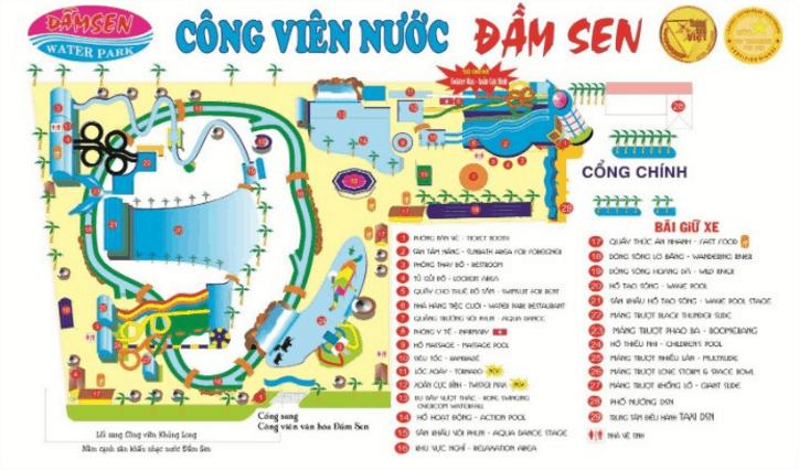 Sơ đồ tổng của công viên nước Đầm Sen (Ảnh ST)