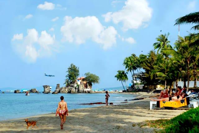 Tắm biển trên bãi biển với hàng dừa rợp bóng