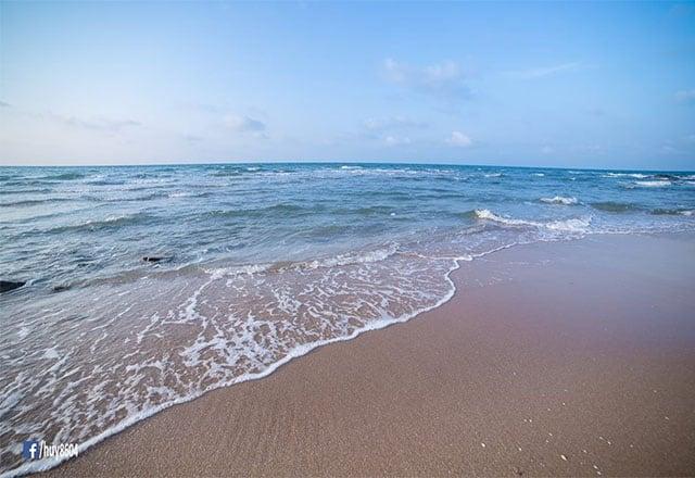 Những con sóng vỗ bờ tung bọt trắng xóa