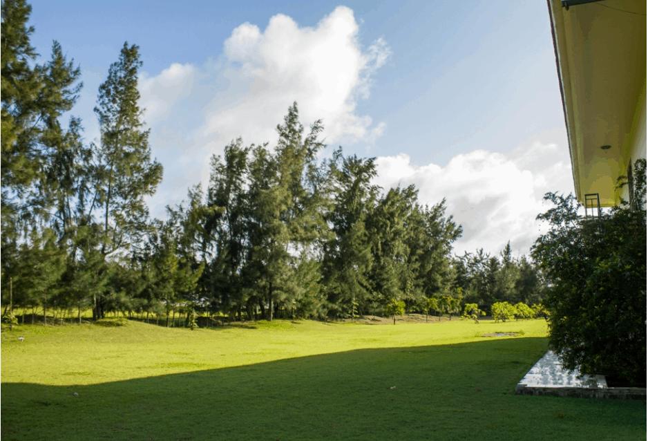 Khuôn viên xanh mướt và rộng du khách có thể tổ chức trò chơi