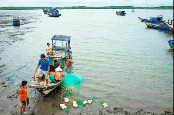 Hình ảnh người dân đảo Thạnh An chăm chỉ làm việc