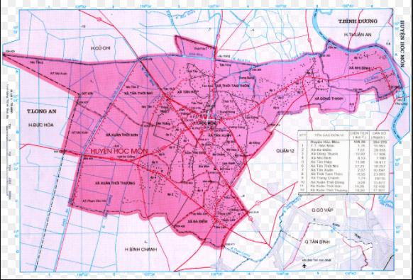 Bản đồ huyện Hóc Môn thành phố Hồ Chí Minh