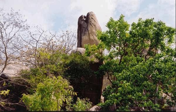 Khối đá hình đầu rắn trên đường lên núi Kỳ Vân