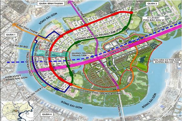 Bản đồ dự án cây cầu Thủ Thiêm 4