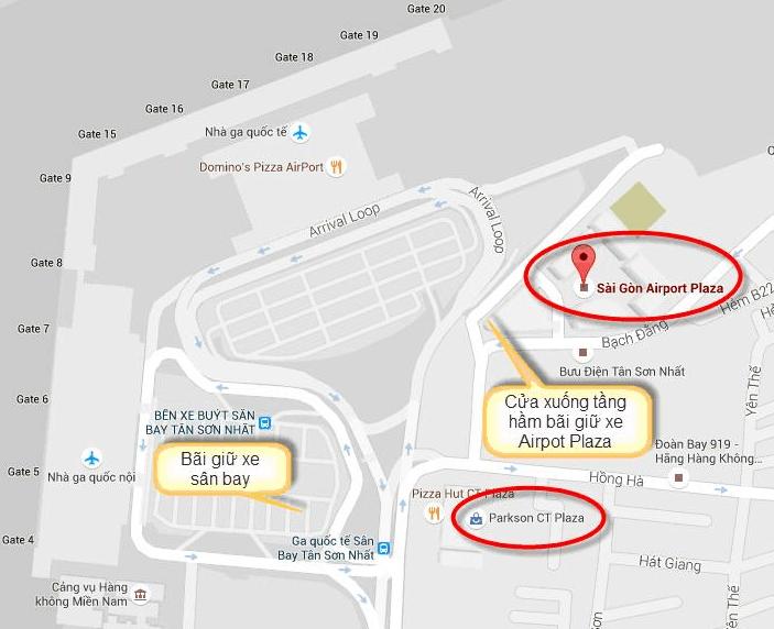 Hình ảnh bản đồ gừi xe tại sân bay Tân Sơn Nhất