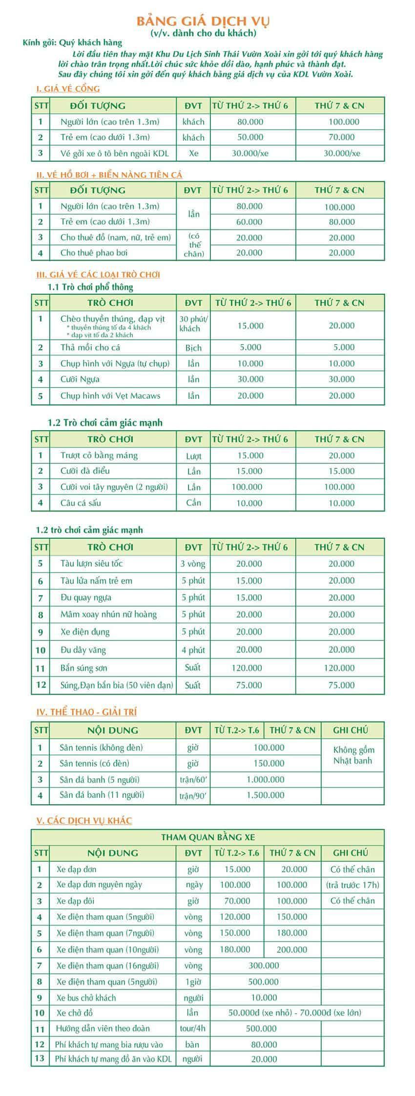 The price list of services at Vuon Xoai tourist site